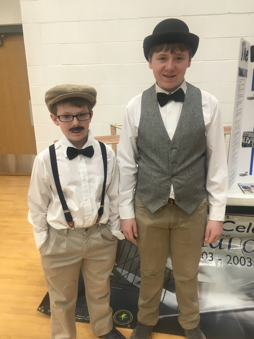 John and Noah Oswald as the Wright brothers