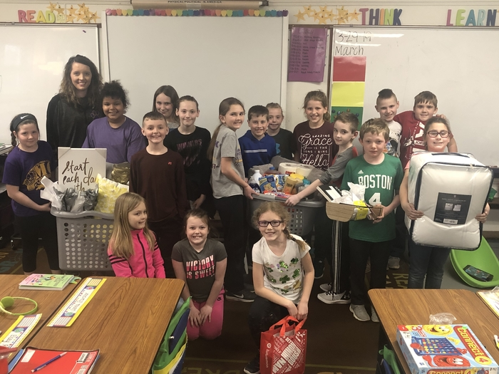 One of our teachers has been displaced due to flooding. Mrs. Alex Drewes' 3rd graders surprised her with some needed items (including a dog bed for Gus)! #pantherproud  #4everpanther