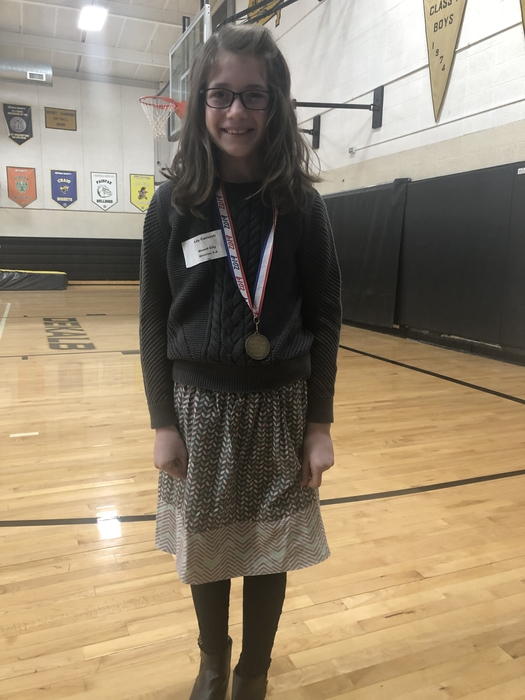 Lily Carlsruh won 1st place in the 3rd/4th grade division at the 275 Conference Spelling Bee!
