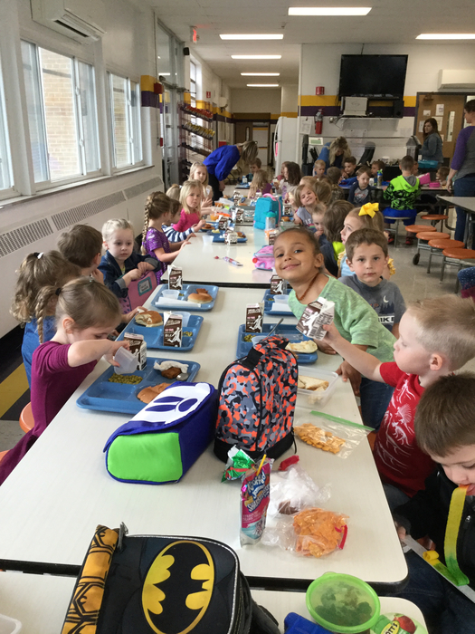 Lunch time for our roundup kiddos! Pre-K and K