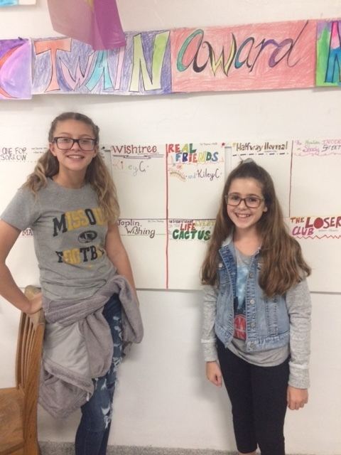 Out first signatures on our Mark Twain Award/Battle of the books wall!